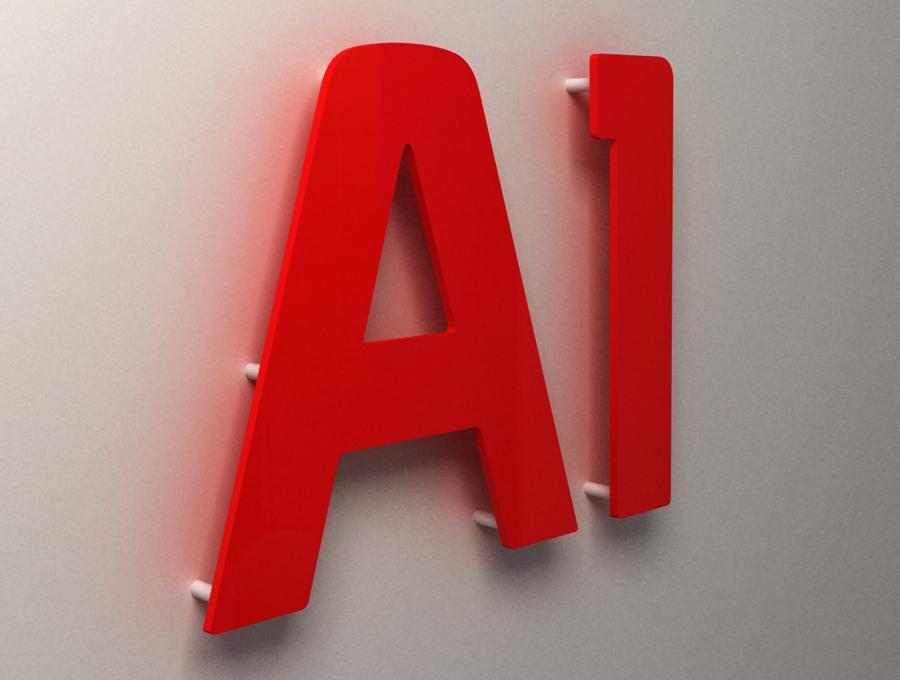 Плоская вывеска красная A1